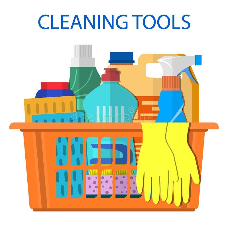 Οικιακά καθαρίζοντας προϊόντα και εξαρτήματα ελεύθερη απεικόνιση δικαιώματος