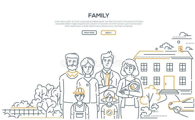 Οικογένεια - έμβλημα ύφους σχεδίου γραμμών με τη θέση για το κείμενο απεικόνιση αποθεμάτων