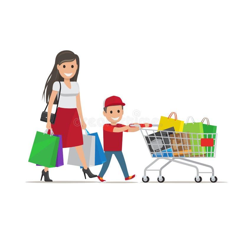 Οικογένεια έξω στην απεικόνιση αγορών γιος μητέρων διανυσματική απεικόνιση