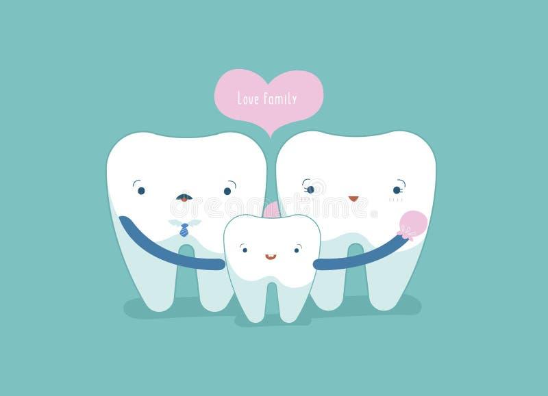 Οικογένεια αγάπης οδοντικού, του δοντιού και της έννοιας δοντιών ελεύθερη απεικόνιση δικαιώματος