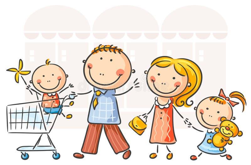 οικογένεια ανασκόπησης που απομονώνεται πέρα από το λευκό αγορών ελεύθερη απεικόνιση δικαιώματος