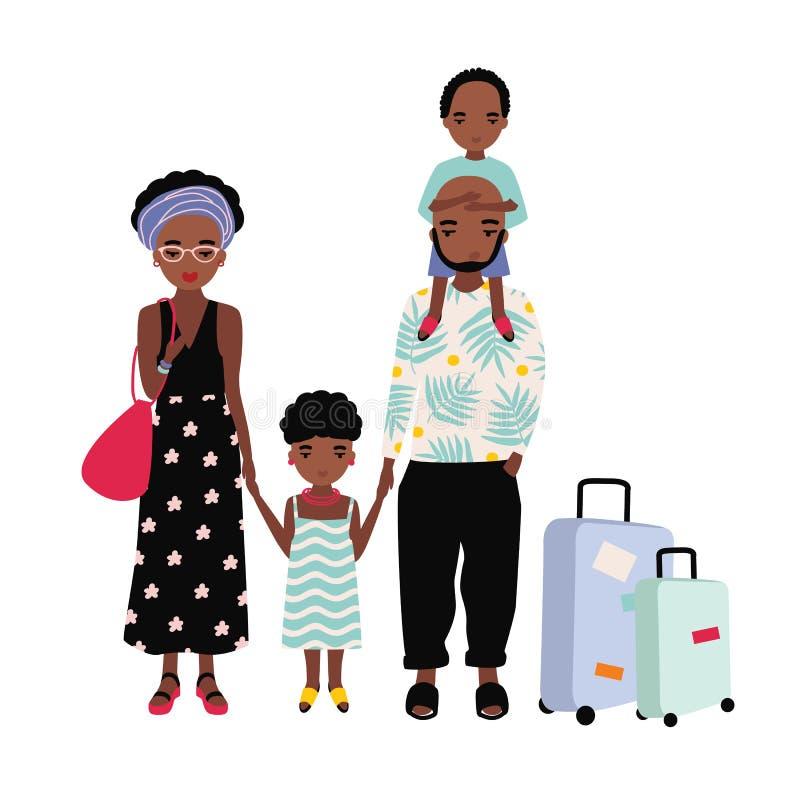 Οικογένεια αφροαμερικάνων στις διακοπές Μητέρα, πατέρας και παιδιά που ταξιδεύουν από κοινού Άνδρας, γυναίκα και ταξιδιώτες παιδι διανυσματική απεικόνιση