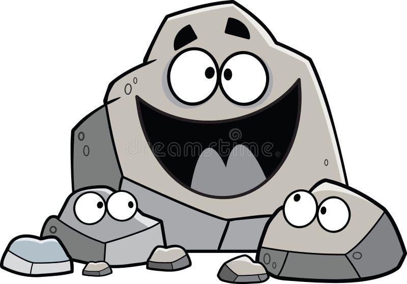 Οικογένεια βράχου κινούμενων σχεδίων στοκ εικόνες