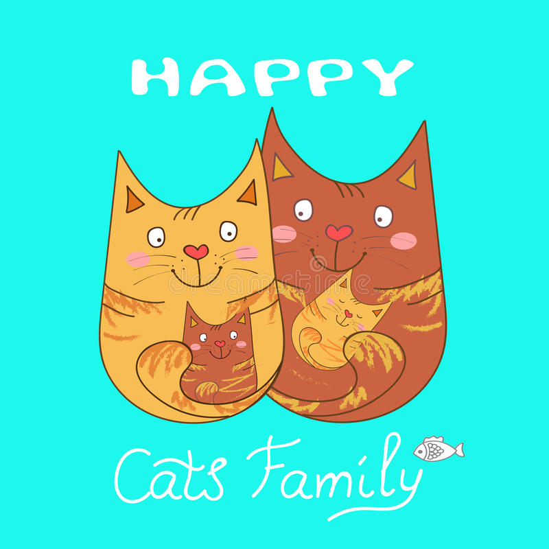 οικογένεια γατών ευτυχή& ελεύθερη απεικόνιση δικαιώματος