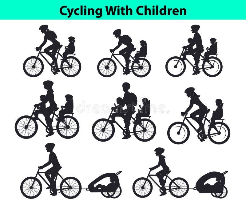Οικογένεια, γονείς, γυναίκα ανδρών με τα παιδιά τους, αγόρι και κορίτσι, οδηγώντας ποδήλατα Ασφαλή καθίσματα και καροτσάκια παιδι απεικόνιση αποθεμάτων