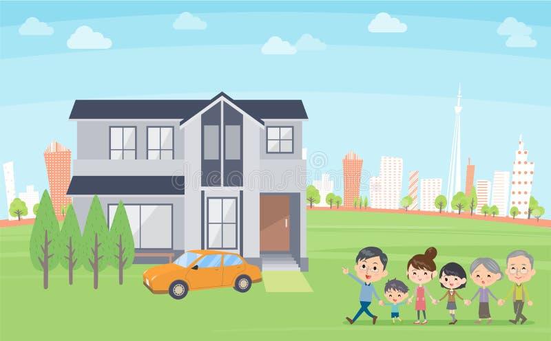 Οικογένεια 3 γύρος σπιτιών γενεών στην πόλη διανυσματική απεικόνιση