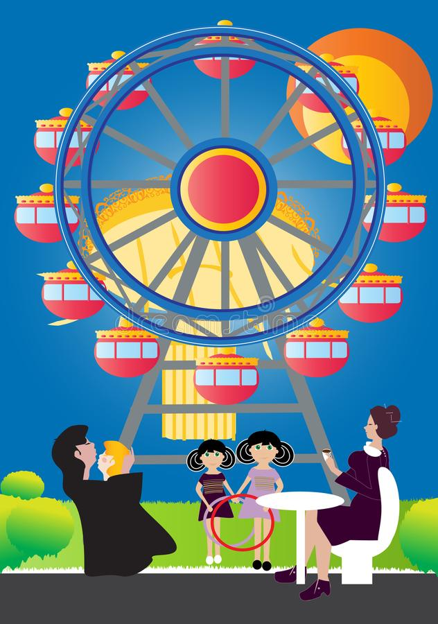 Οικογένεια δίπλα στη ρόδα Ferris διανυσματική απεικόνιση