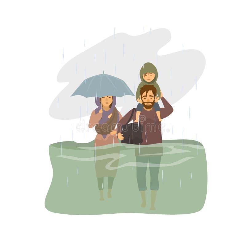 Οικογένεια, διαφυγή ανθρώπων από τα νερά της πλημμύρας, θύματα πλημμυρών γραφικά απεικόνιση αποθεμάτων