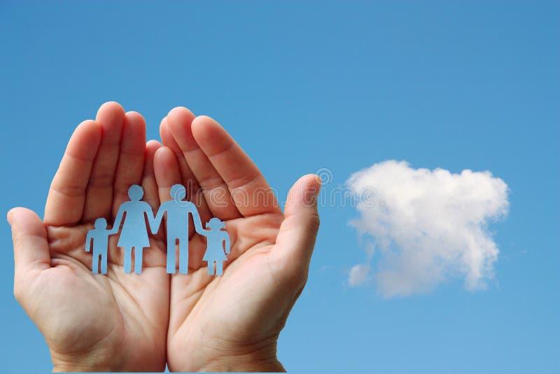 Οικογένεια εγγράφου στα χέρια στην έννοια ευημερίας υποβάθρου μπλε ουρανού στοκ φωτογραφία