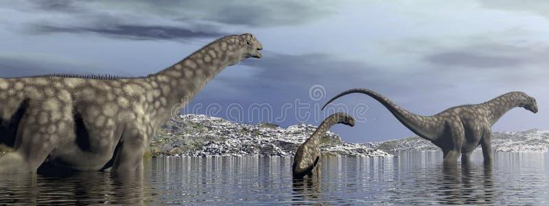 Οικογένεια δεινοσαύρων Argentinosaurus - τρισδιάστατη δώστε ελεύθερη απεικόνιση δικαιώματος