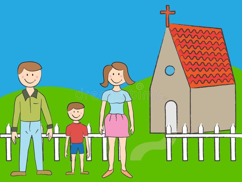 οικογένεια εκκλησιών διανυσματική απεικόνιση