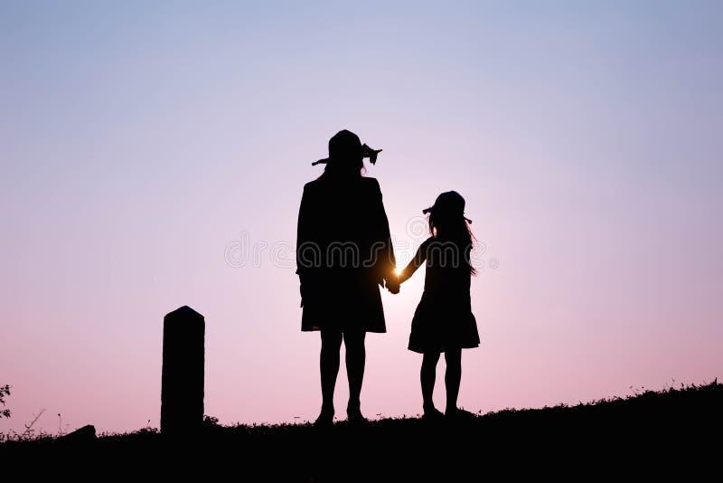 οικογένεια ευτυχής Ένα παιχνίδι μητέρων και γιων στους τομείς χλόης υπαίθρια στη σκιαγραφία βραδιού Εκλεκτής ποιότητας διάστημα τ στοκ εικόνες