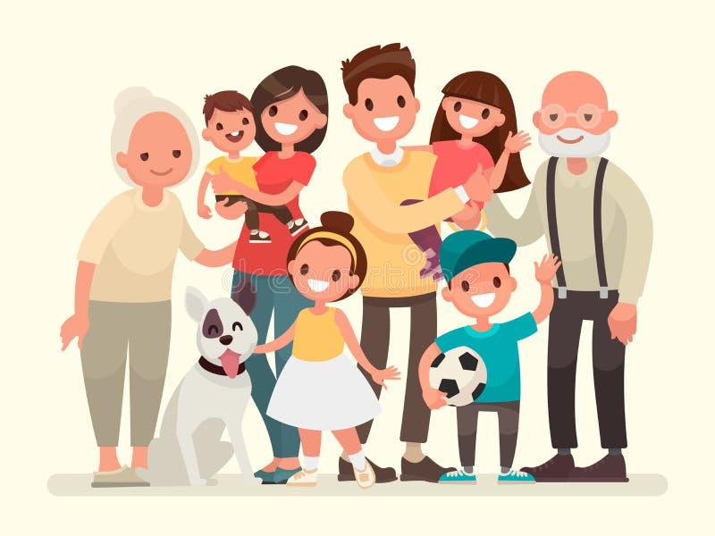 οικογένεια ευτυχής Πατέρας, μητέρα, παππούς, γιαγιά, παιδιά απεικόνιση αποθεμάτων