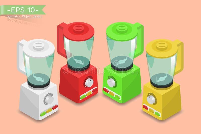 Οικογένεια, ηλεκτρικό μπλέντερ, αναμίκτης, juicer, κατασκευαστής καταφερτζήδων Ηλεκτρονική συσκευή κουζινών για διανυσματική απεικόνιση