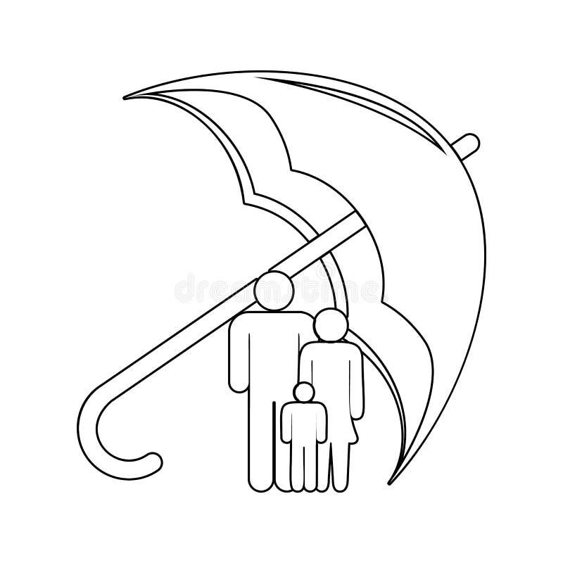 οικογένεια κάτω από το εικονίδιο ομπρελών Στοιχείο της ασφάλειας για το κινητό εικονίδιο έννοιας και Ιστού apps Λεπτό εικονίδιο γ διανυσματική απεικόνιση