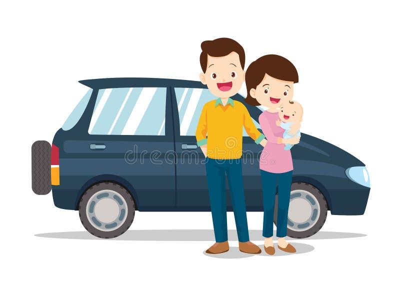 Οικογένεια και αυτοκίνητο Ευτυχής οικογένεια με ένα αυτοκίνητο ελεύθερη απεικόνιση δικαιώματος