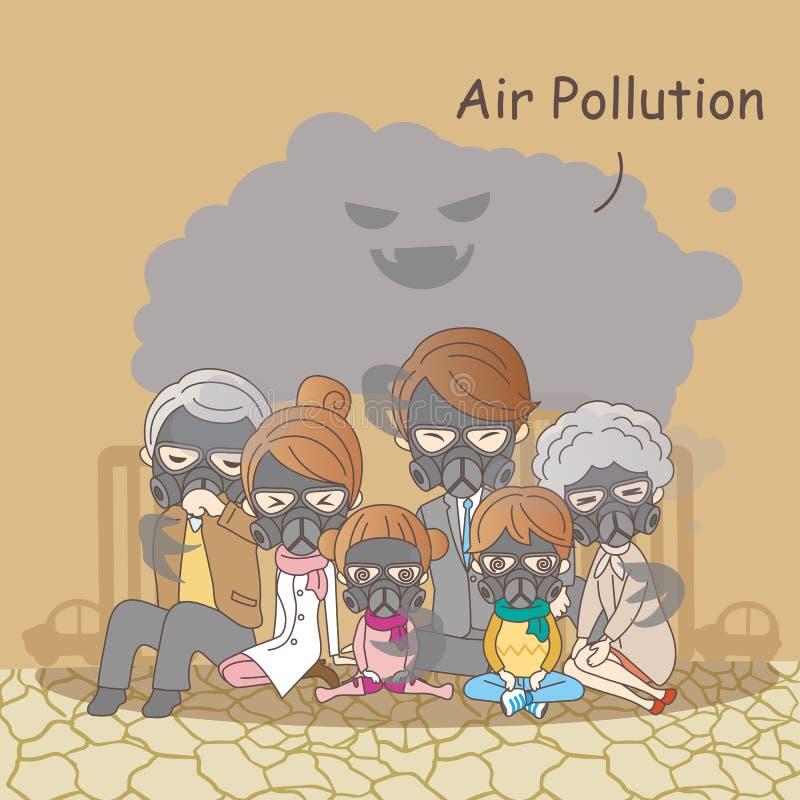 Οικογένεια κινούμενων σχεδίων με την ατμοσφαιρική ρύπανση διανυσματική απεικόνιση
