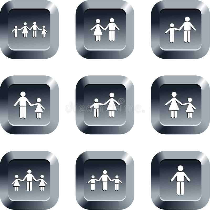 οικογένεια κουμπιών διανυσματική απεικόνιση