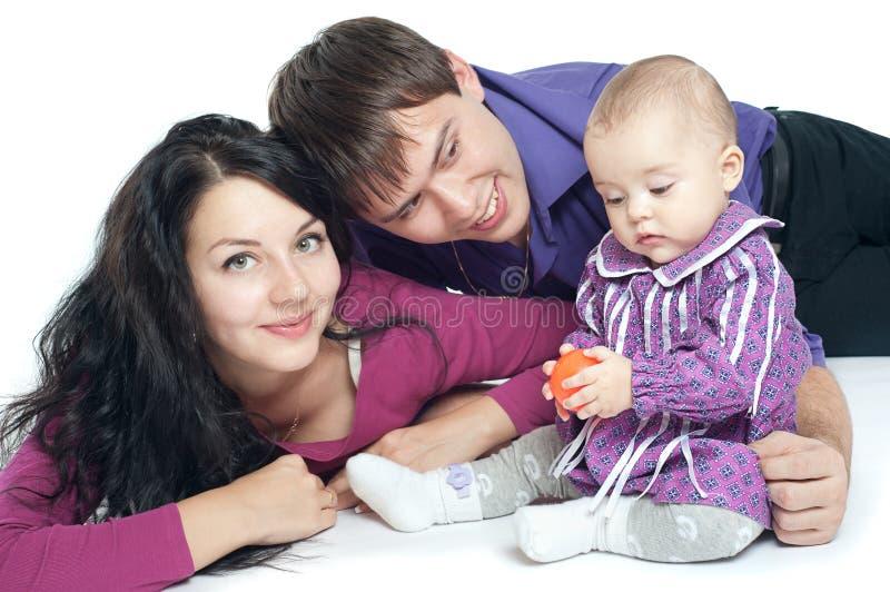 Οικογένεια με ένα μωρό στοκ φωτογραφία