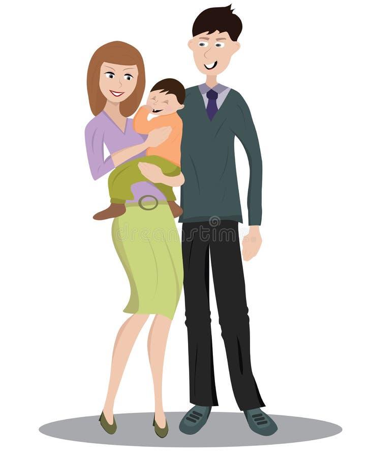 Οικογένεια με ένα παιδί διανυσματική απεικόνιση