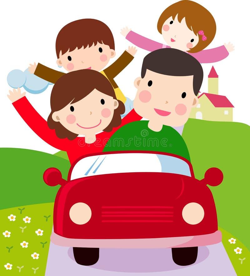 Οικογένεια με δύο ταξίδι παιδιών και οικογένειας διανυσματική απεικόνιση