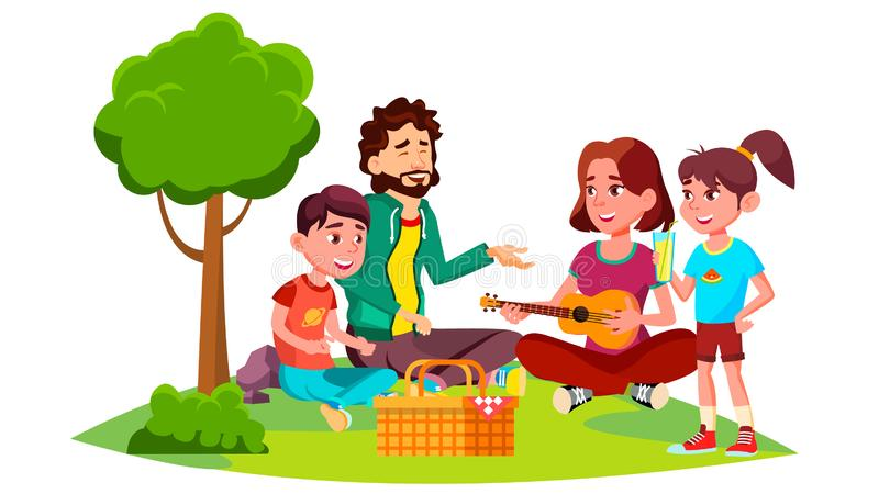 Οικογένεια με τα παιδιά σε ένα πικ-νίκ στο διάνυσμα φύσης απομονωμένη ωθώντας s κουμπιών γυναίκα έναρξης χεριών απεικόνιση διανυσματική απεικόνιση