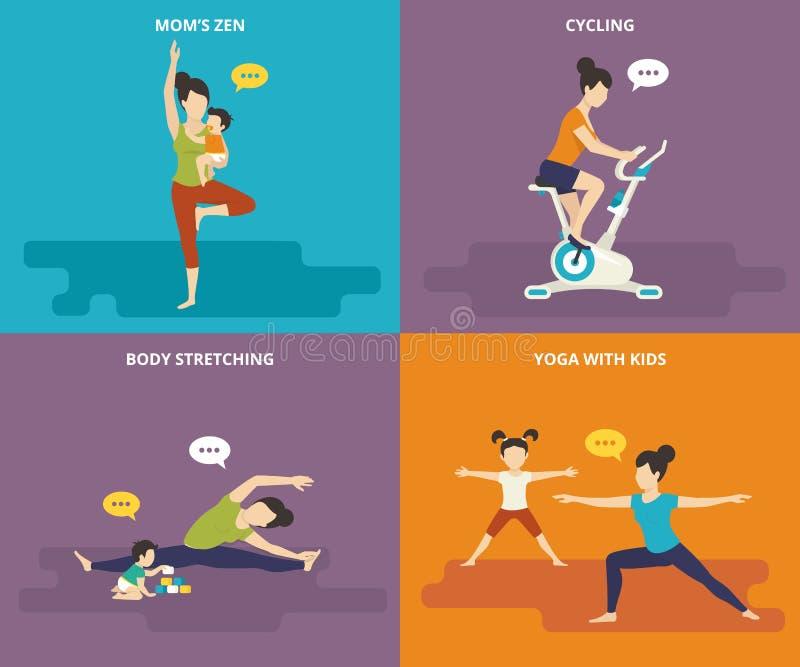 Οικογένεια με την ενεργό αθλητική ζωή παιδιών απεικόνιση αποθεμάτων