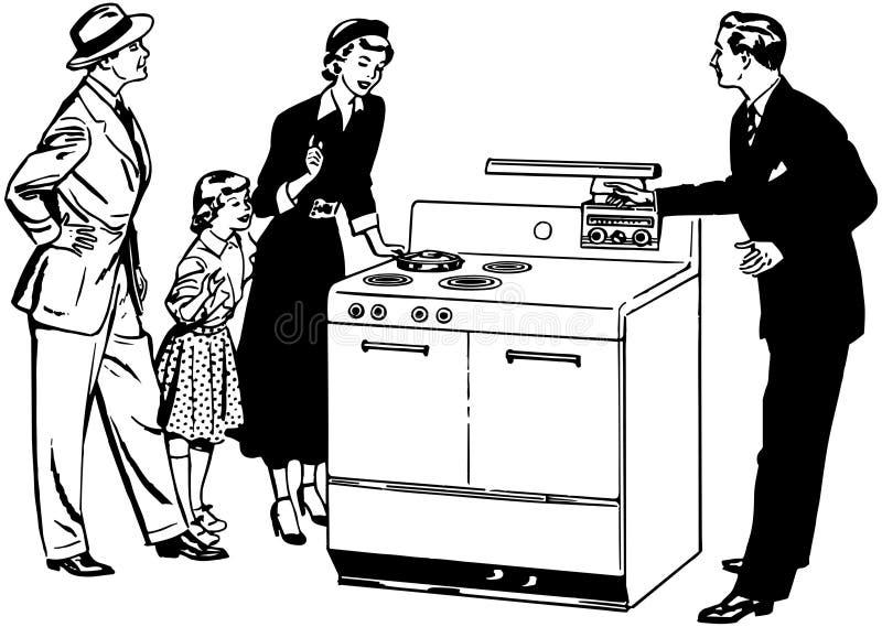 Οικογένεια με τη νέα σόμπα ελεύθερη απεικόνιση δικαιώματος