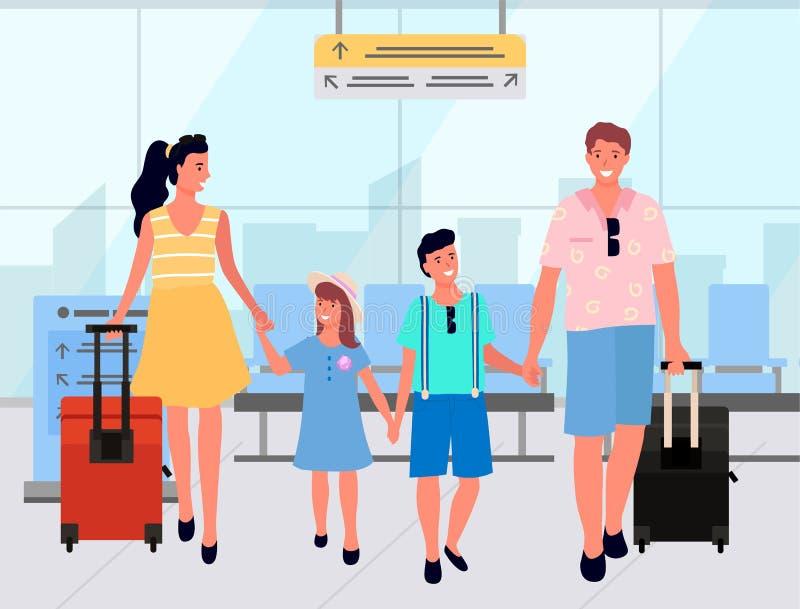 Οικογένεια με τις αποσκευές στο διάνυσμα σαλονιών αναχώρησης απεικόνιση αποθεμάτων