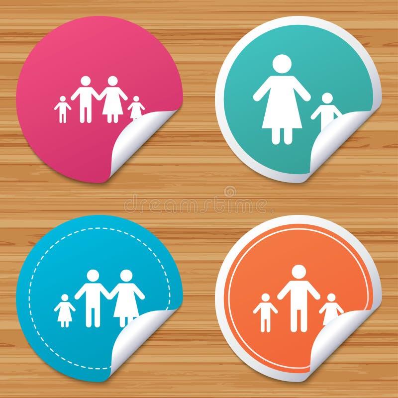 Οικογένεια με το σημάδι δύο παιδιών Πρόγονοι και κατσίκια απεικόνιση αποθεμάτων