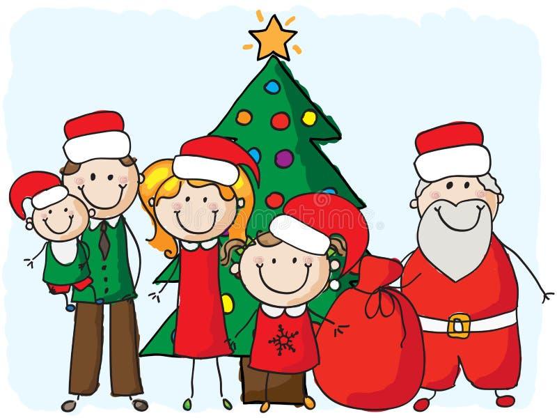 Οικογένεια με το santa διανυσματική απεικόνιση