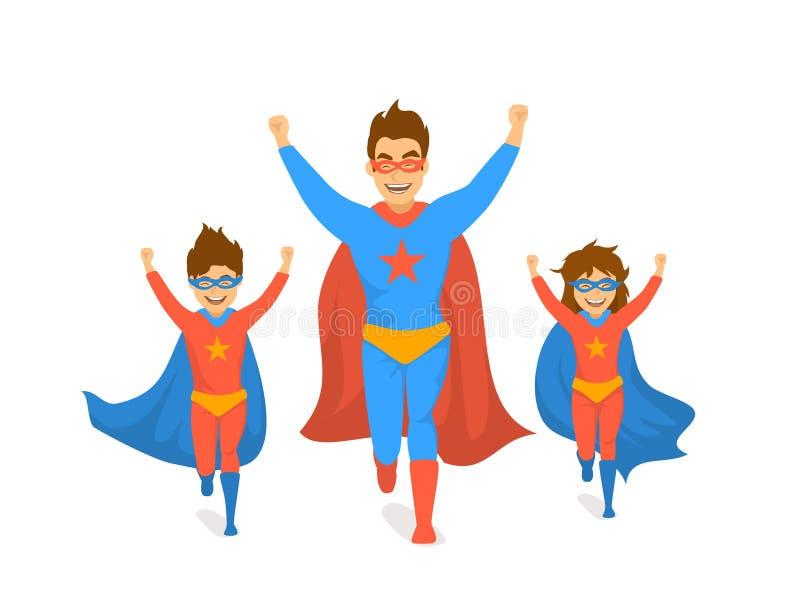 Οικογένεια, μπαμπάς και παιδιά, χαριτωμένα αγόρι και κορίτσι που παίζουν superheroes, τρέξιμο που διεγείρεται στους έξοχους πατέρ διανυσματική απεικόνιση
