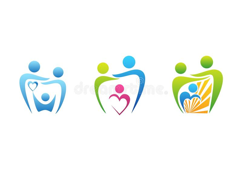 Οικογένεια, οδοντικό λογότυπο προσοχής, σύμβολο υγειονομικής αγωγής οδοντιάτρων, καθορισμένο διάνυσμα σχεδίου εικονιδίων οικογενε ελεύθερη απεικόνιση δικαιώματος