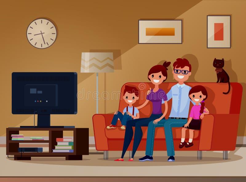 Οικογένεια, παιδιά και γονείς που προσέχουν τη TV διάνυσμα απεικόνιση Επίπεδο ύφος Ύφος κινούμενων σχεδίων στοκ εικόνες