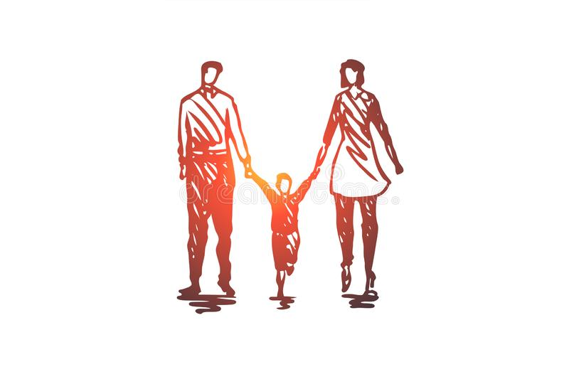 Οικογένεια, πατέρας, παιδί, γυναίκα, έννοια ζευγών Συρμένο χέρι απομονωμένο διάνυσμα ελεύθερη απεικόνιση δικαιώματος