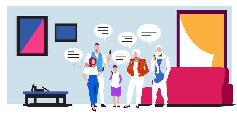 Οικογένεια πολλών γενεών που χρησιμοποιεί smartphones mobile chatting app chat bubble communication αντίληψη των παππούδων απεικόνιση αποθεμάτων