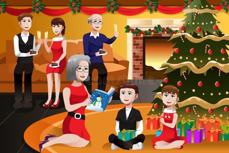 Οικογένεια που έχει μια γιορτή Χριστουγέννων διανυσματική απεικόνιση