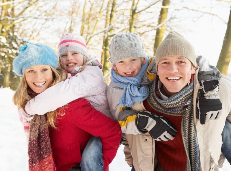 Οικογένεια που έχει τη χιονώδη δασώδη περιοχή διασκέδασης στοκ εικόνα