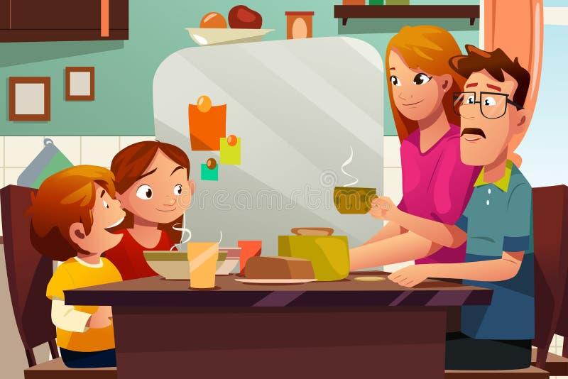 Οικογένεια που έχει το γεύμα από κοινού ελεύθερη απεικόνιση δικαιώματος