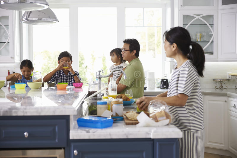 Οικογένεια που έχει το πρόγευμα και που κάνει τα μεσημεριανά γεύματα στην κουζίνα στοκ εικόνες