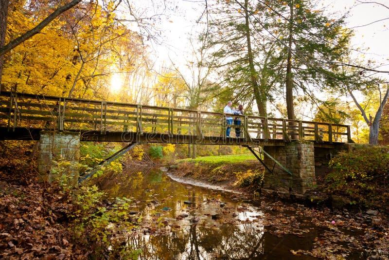 Οικογένεια που απολαμβάνει τα χρώματα φθινοπώρου σε μια γέφυρα πάρκων στοκ εικόνες