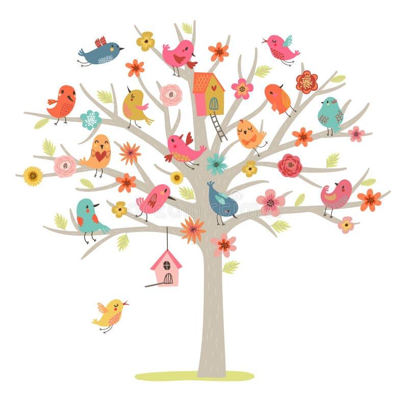 Οικογένεια πουλιών σε ένα δέντρο ελεύθερη απεικόνιση δικαιώματος