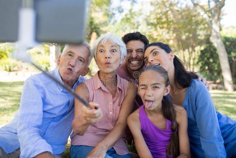 Οικογένεια που κάνει τα αστεία πρόσωπα παίρνοντας ένα selfie στο πάρκο στοκ εικόνες