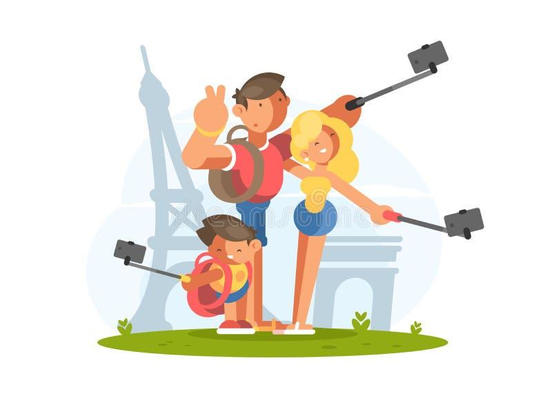 Οικογένεια που κάνει selfie στις διακοπές ελεύθερη απεικόνιση δικαιώματος