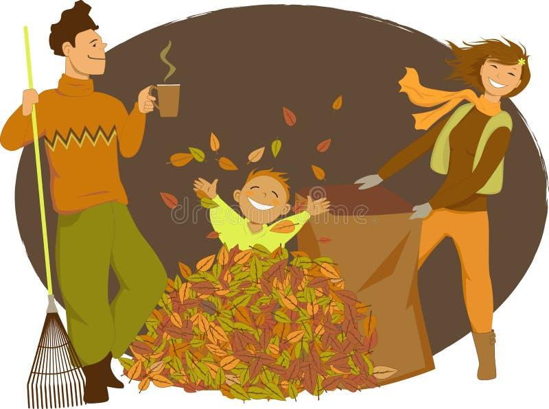 Οικογένεια που μαζεύει με τη τσουγκράνα τα φύλλα φθινοπώρου απεικόνιση αποθεμάτων