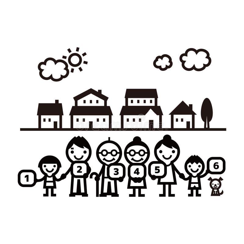 Οικογένεια που στέκεται στο fromt των σπιτιών απεικόνιση αποθεμάτων