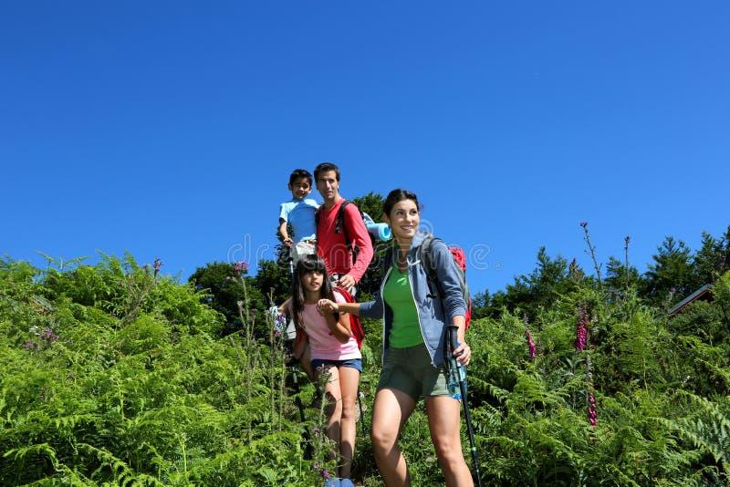 Οικογένεια που στα βουνά στοκ εικόνες