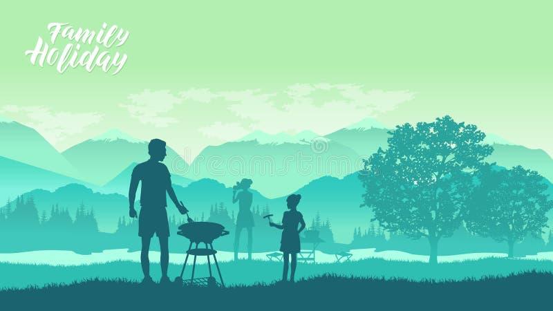 Οικογένεια που στρατοπεδεύει και που έχει μια σχάρα ελεύθερη απεικόνιση δικαιώματος