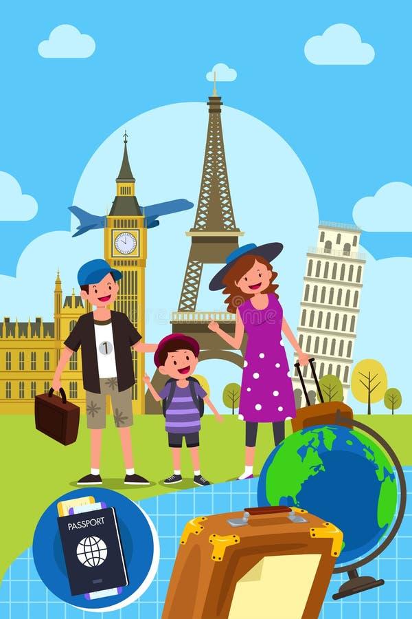 Οικογένεια που ταξιδεύει από κοινού διανυσματική απεικόνιση