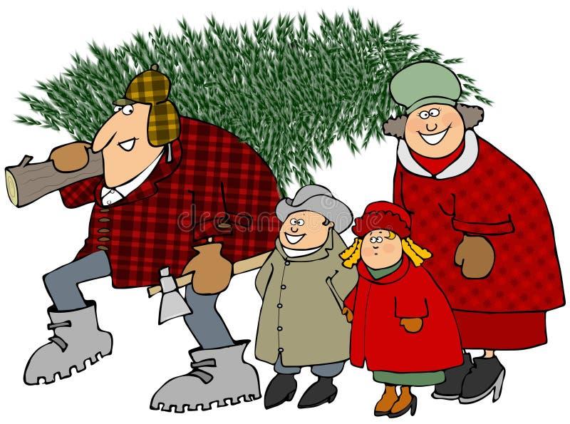Οικογένεια που φέρνει ένα χριστουγεννιάτικο δέντρο διανυσματική απεικόνιση